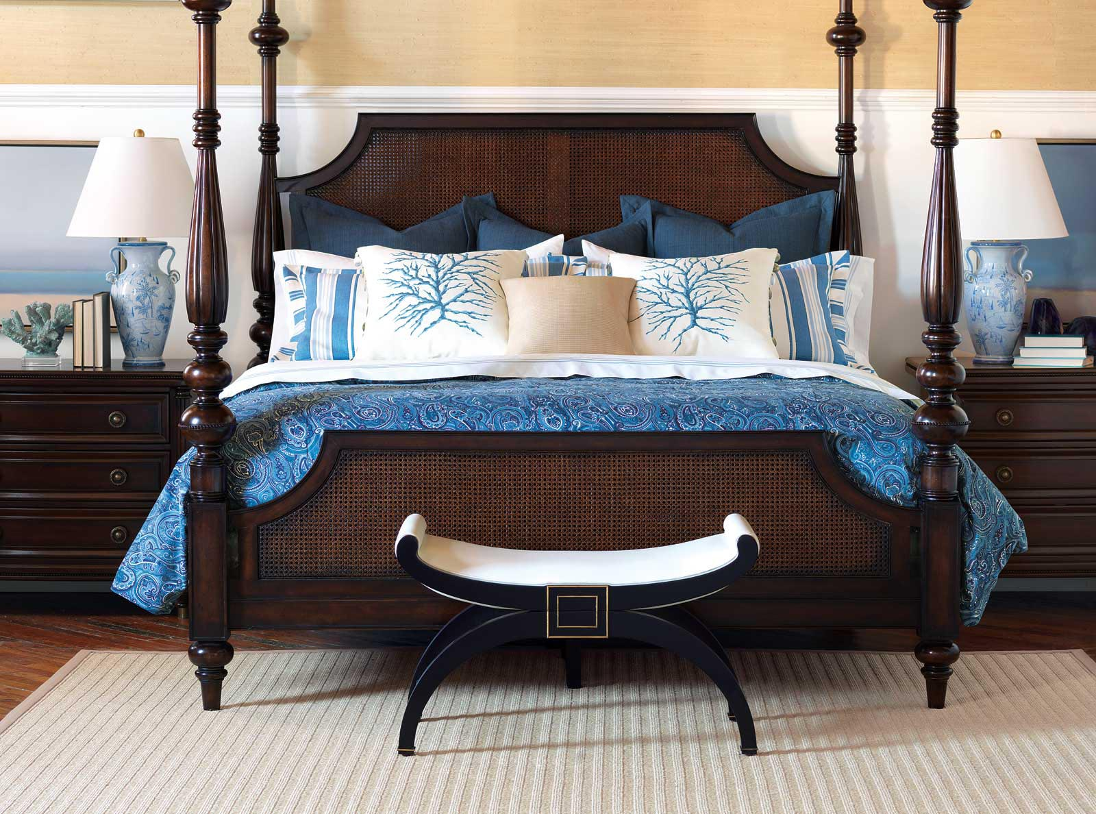 nautical bedroom furniture ideas homesfeed 12679 | nautical bedroom with wooden bed frame blue and white bed double side table with white standing ls