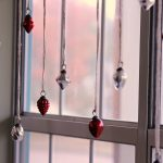 Ornament Glass With Red And Silver Color For Christmas Window Decoration