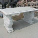 Outdoor Stone Patio Tables With White Colors And Decorative Bases