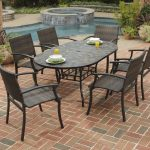 Oval Shape Of Black Stone Patio Tables With Chairs Near Small Pool