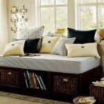 Pottery barn day bed with under shelves mattress and pillows