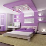 Pretty Ceiling Bedroom Designs With Unique Lights And Purple Theme