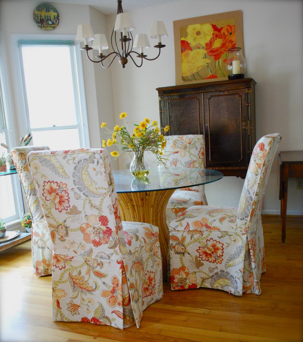 Pretty Fl Parson Chair Slipcovers Design With Round Gl Table On Top Wooden Cabinet And White