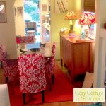 Pretty Red And White Pattern Design For Parson Chair Slipcovers With Same Syle On Lamps