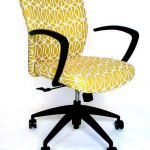 Pretty Yellow Desk Chair Unit With Armrest And Wheels