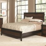 Rectangular Wooden Cal King Headboard With Warm Mattress And White Pillows