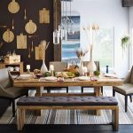 Rectangular wood table with clear natural lines for a modern dining room four modern dining chairs a wood bench with black cushion