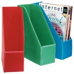 Red Green And Blue Plastic Magazine Holders