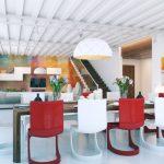 Red White Minimalist Dining Set