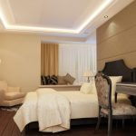 Retro And Luxury Ceiling Bedroom Designs With Dark Wooden Furniture