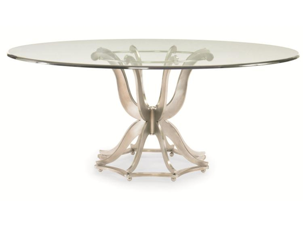 Round Table With Gl Material On Top Surface And Stylish Leg