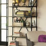 Rustic metal and wood bookshelves with wheels