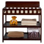 Safe-and-stylish-Bentley-Changing-Table-from-Delta-Children-in-chocolate-includes-water-resistant-changing-pad-and-safety-strap-features-2-shelves-and-safety-belt