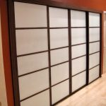 Shoji screen door idea with darker brown wood frame