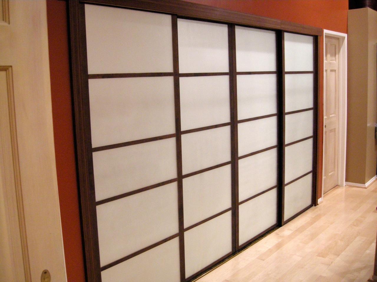Shoji Screen Door Idea With Darker Brown Wood Frame