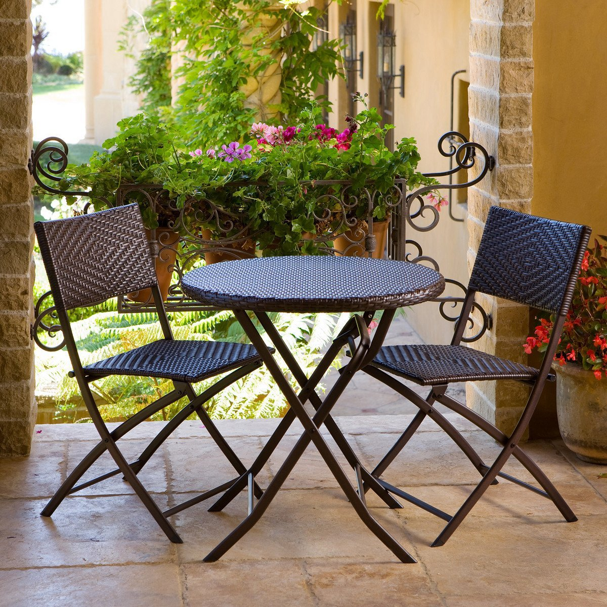 Simple Chairs And Round Table Of Small Balcony Furniture