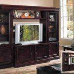 Simple Dark Wooden Cherry Wood With Grey Tv Racks With Glass Door And Cabinet