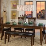 Simple Wooden Dining Room Table Set With Bench Rectangular Chandelier And Cool Rug