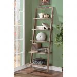 Simple Wooden Leaning Ladder Bookshelf On Green Wall Near Window