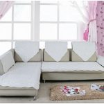 Simple white slipcover for sectional sofa with armrest and single chaise small cream wool rug idea beautiful pink wallpaper with floral pattern light window curtain with pink decorative rope