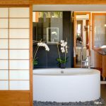 Sliding Door With Shoji Screen For A Bathroom White Deep Tub Bathroom Vanity With White Basin And Faucet