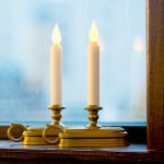 Small Double Candle Lights For Windows With Gold Bases