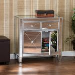 Small Mirrored Console Cabinet With Drawers For Books