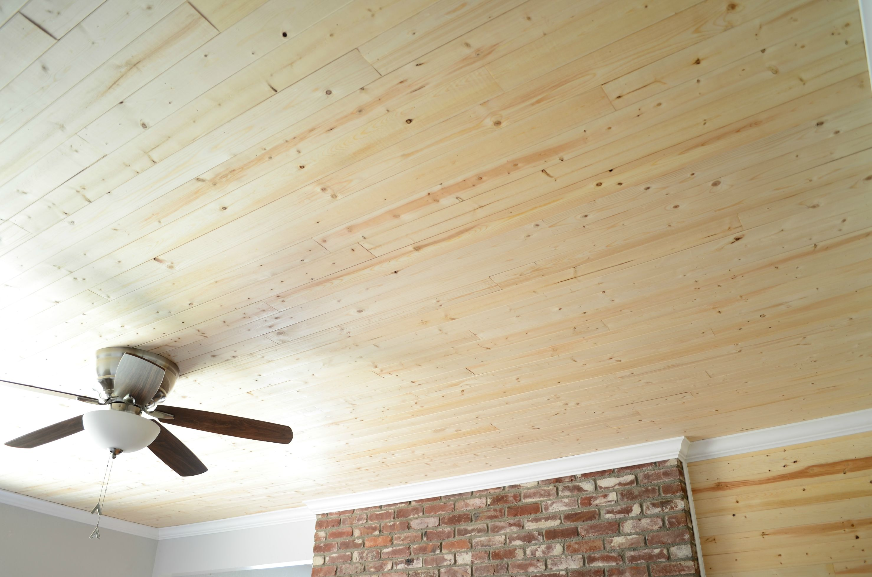 Soft Color For Wood Ceiling Planks With Fan