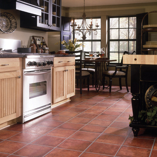 Square Shaped Spanish Kitchen Floor Idea A Simple Counter With Unfinished Base Cabinets Black Coated