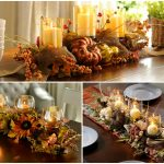Three Types Dining Table Of Fall Center Pieces With Pumpkin Candles And Flowers