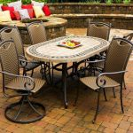 Tile Top Patio Stone Tables With Awesome Chairs In Outdoor