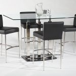 Transparent glass top rectangular pub table with stainless steel base four units of modern bar chairs in black