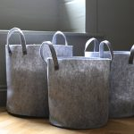 Triple Grey Felt Storage Bin Baskets