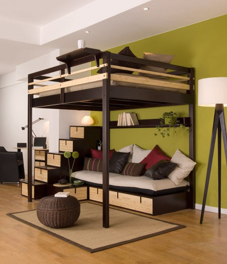 Twin Loft Bed Full With Stairway And Storage Place Floor Lamp Pillows