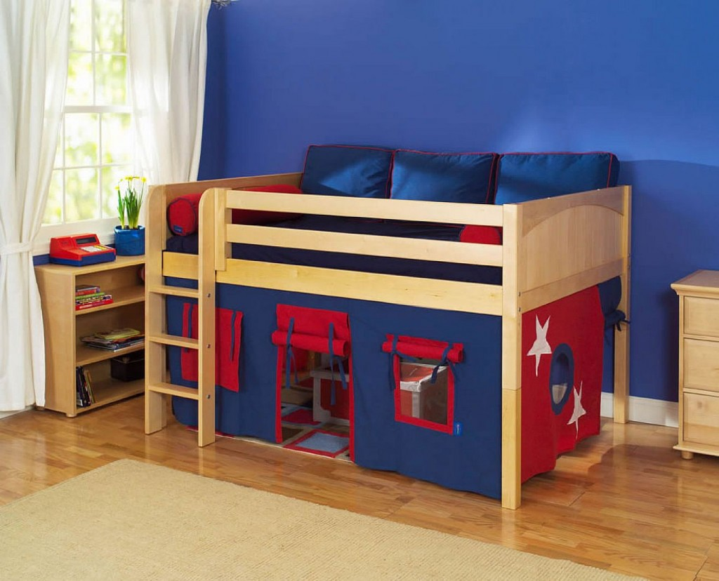 Unique Loft Bed Ikea For Kid With Under E Camp And Wooden Stairs