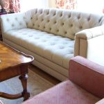 White Custom Made Couches With Wooden Table