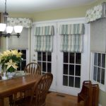 White Door Windows With Striped Curtains In Dining Room Wooden Dining Room Furniture Set Below Cool Chandelier