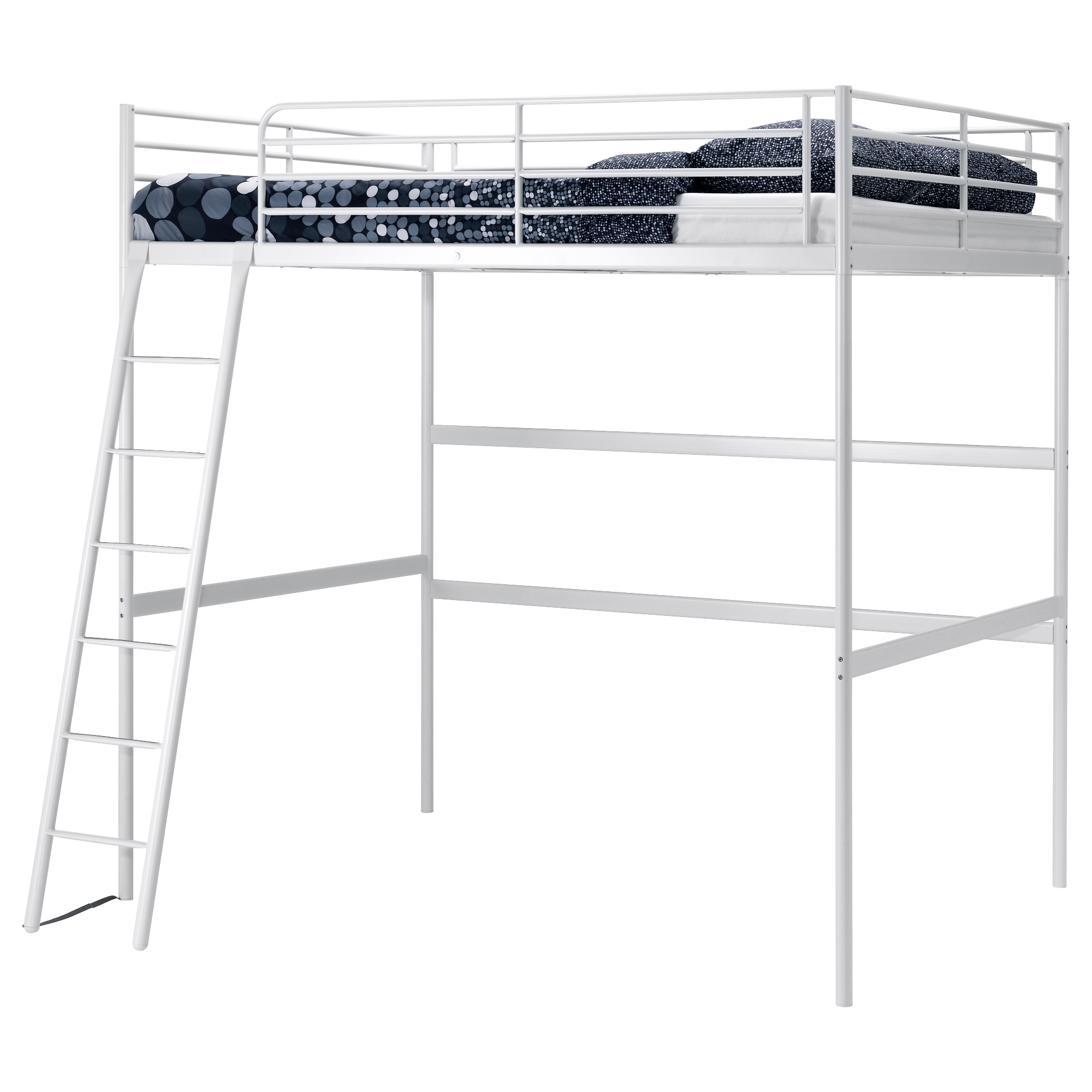 White Loft Bed Ikea With Polcadot Mattress