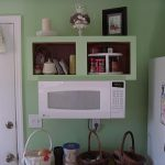 White Small Space Saver Microwave In Green Wall Kitchen