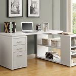 White Wooden Corner Desk With Shelves And Racks For Books And Computer