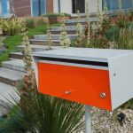 White and orange modern mailbox design