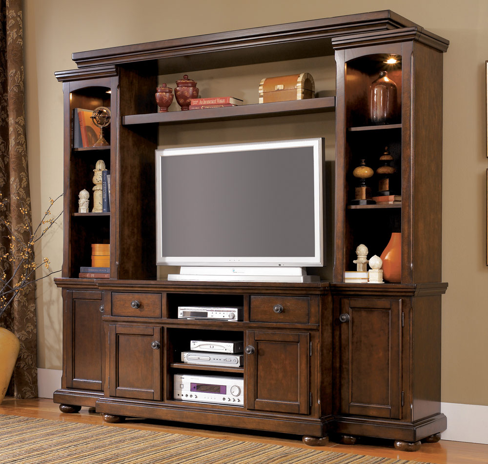 A Furniture: Cherry Wood Entertainment Center