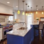 Wonderful Kitchen Cabinets Ideas With Marble On Top And Unique Chandelier