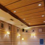 Wood Ceiling Planks Unique Design With Mini Lamps