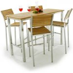 Wood planks top rectangular pub table with white painted legs four units of bar stools with wood planks as seat and back features