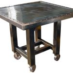 Wooden And Steel Industrial Pub Rectangular Table