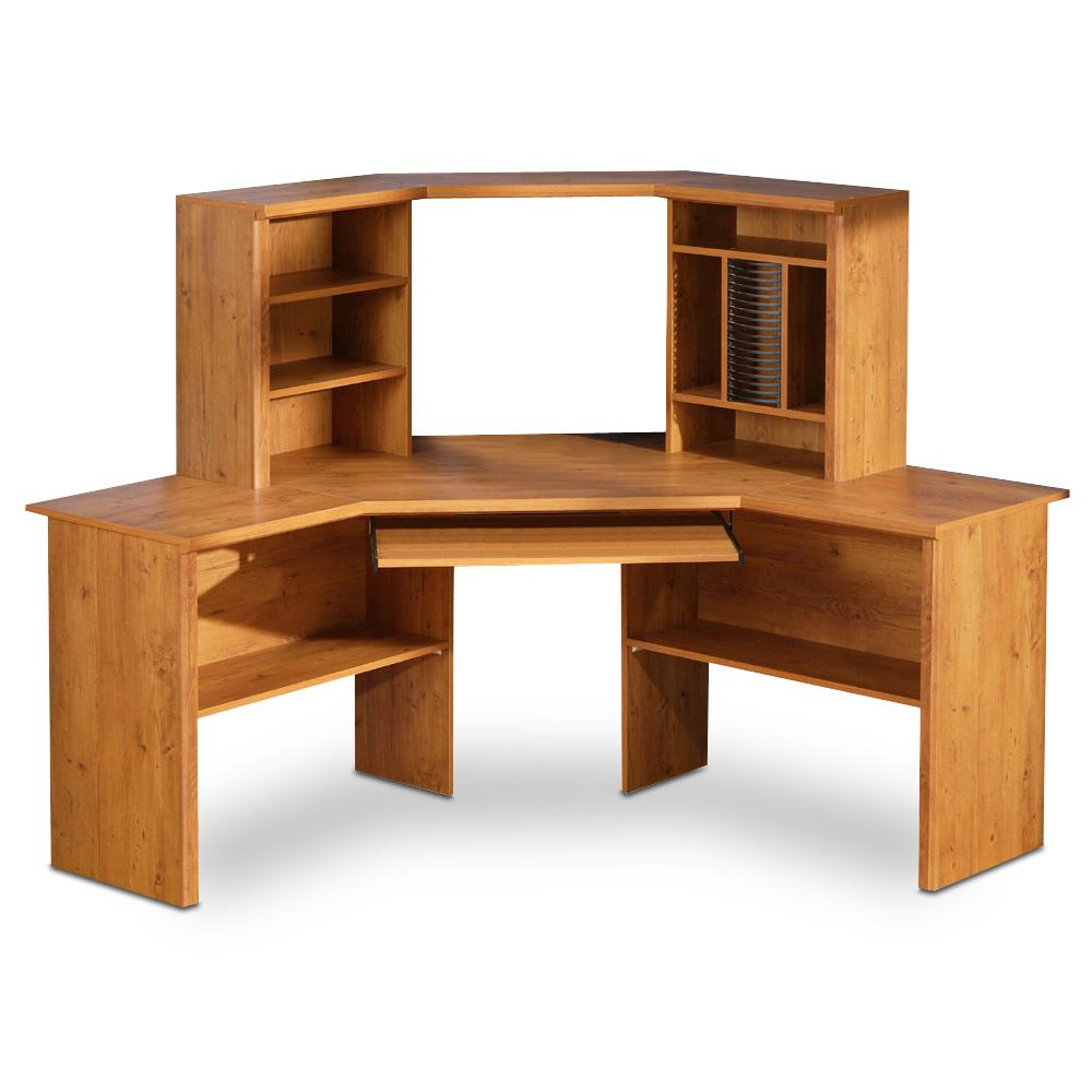 Wooden Corner Desk Unit Shelves