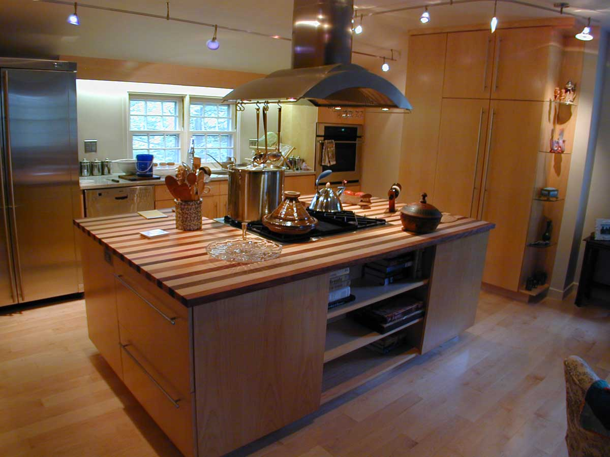 Wooden Kitchen Island With Stove Built In Top Design And Hardwood Floor