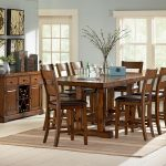 Wooden Set Counter Height Dinette With Eight Chairs Large Rug And Small Cabinet Near Stylish Frames