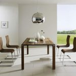 Wooden Simple Minimalist Dining Set With Grey Metal Light